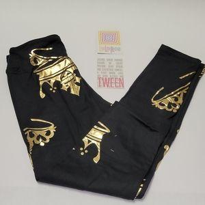 Lularoe Black and Gold Queen Leggings Tween